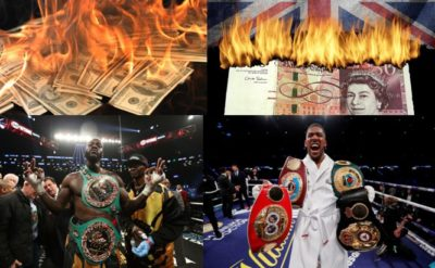 Anthony Joshua and Deontay Wilder Burning Money