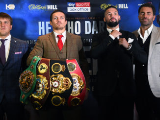 Oleksandr Usyk and Tony Bellew pose for a photograph during their press conference at the Radisson Blu Edwardian Hotel on September 24, 2018 in Manchester, England.