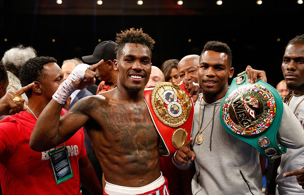 LAS VEGAS, NV - MAY 21: Twin brothers IBF junior middleweight champion Jermall Charlo (L) and WBC super welterweight champion Jermell Charlo pose with their titles at The Chelsea at The Cosmopolitan of Las Vegas on May 21, 2016 in Las Vegas, Nevada. (Photo by Steve Marcus/Getty Images)
