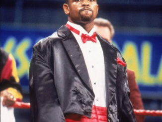 "Roy Jones Jr, in his tuxedo before his ""coming out"" fight vs Glenn Wolfe at Caesars Palace, Las Vegas, NV February 13, 1993 (Photo by V.J. Lovero/Sports Illustrated/Getty Images)"