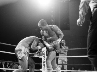 ATLANTIC CITY, NJ - SEPTEMBER 27,1986: Lloyd Honeyghan (R) lands a punch to Donald Curry during a bout at Caesar's Hotel & Casino on September 27, 1986 in Atlantic City, New Jersey. Lloyd Honeyghan won the WBC welter weight title, WBA World welter weight title and the IBF welter weight title. (Photo by: The Ring Magazine/Getty Images)