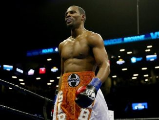 NEW YORK, NY - APRIL 16: Marcus Browne heads back to his corner in between rounds against Radivoje Kalajdzic during their light heavyweight bout at Barclays Center on April 16, 2016 in the Brooklyn borough of New York City. (Photo by Elsa/Getty Images)