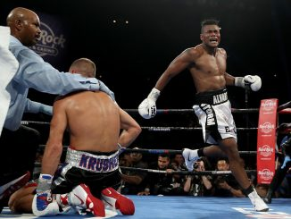ATLANTIC CITY, NJ - AUGUST 04: Eleider Alvarez celebrates after he knocked out Sergey Kovalev in the seventh round during the WBO/IBA Light Heavyweight Title bout at the Hard Rock Hotel & Casino Atlantic City on August 4, 2018 in Atlantic City, New Jersey. (Photo by Elsa/Getty Images)