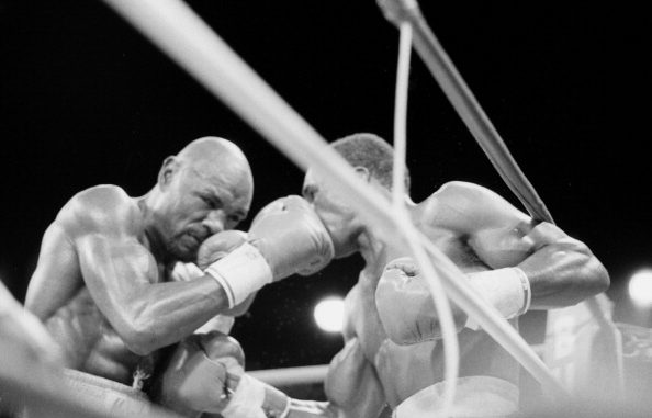 LAS VEGAS - APRIL 6,1987: Marvin Hagler (L) lands a right jab to Sugar Ray Leonard during a bout at Caesars Palace on April 6, 1987 in Las Vegas, Nevada. Sugar Ray Leonard won the WBC middleweight title. (Photo by: The Ring Magazine/Getty Images)