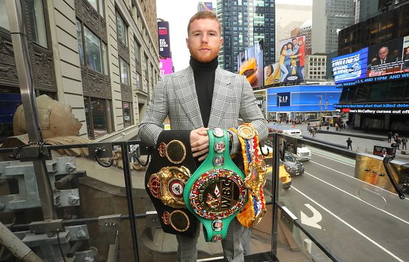 NEW YORK CITY, NY- FEBRUARY 27: Canelo Alvarez poses at the press conference for his fight against Daniel Jacobs on February 27, 2019 in New York City. (Photo by Tom Hogan/Golden Boy/Getty Images)