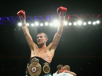 LIVERPOOL, ENGLAND - APRIL 18: Derry Mathews celebrates after victory over Tony Luis in The Vacant WBA Interim World Lightweight Championship fight between Derry Mathews and Tony Luis at the World Championship boxing event at Echo Arena on April 18, 2015 in Liverpool, England. (Photo by Alex Livesey/Getty Images)