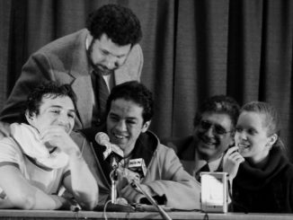 RENO,NV - JANUARY 14,1984: Bobby Chacon (L) smiles with Ray Mancini during the press conference after the fight at the Lawlor Events Center in Reno, Nevada. Ray Mancini won the WBA World lightweight title. (Photo by: The Ring Magazine/Getty Images)