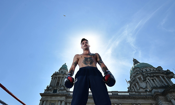 BELFAST, NORTHERN IRELAND - JUNE 27: Tyrone McKenna takes part in an open media workout at Belfast City Hall on June 27, 2018 in Belfast, Northern Ireland. Michael Conlan will headline the Homecoming boxing bill at Belfast's SSE arena on Saturday night, the rising featherweight star will fight on home soil for the first time as a professional. (Photo by Charles McQuillan/Getty Images)