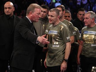 Boxing promoter Frank Warren talks to James Degale's trainer Jim McDonnell afterJames DeGale loses on points at the O2, London. (Photo by Nick Potts/PA Images via Getty Images)