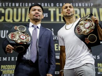 NEW YORK, NEW YORK - MAY 21: (L-R) Manny Pacquiao and Keith Thurman pose for the media during a press conference at Gotham Hall in preparation for their upcoming fight on May 21, 2019 in New York City. Pacquiao and Thurman will meet for the world welterweight championship title on July 20, in Las Vegas, Nevada. (Photo by J. Yim/Getty Images)