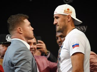 LAS VEGAS, NEVADA - OCTOBER 30: Boxer Canelo Alvarez (L) and WBO light heavyweight champion Sergey Kovalev face off during a news conference at the KA Theatre at MGM Grand Hotel & Casino on October 30, 2019 in Las Vegas, Nevada. Kovalev will defend his title against Alvarez, who is making his debut at light heavyweight, at MGM Grand Garden Arena in Las Vegas on November 2. (Photo by Ethan Miller/Getty Images)