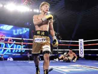 Naoya Inoue walks to the corner after knocking down Australian challenger Jason Moloney during their bantamweight title bout at MGM hotel and casino in Las Vegas