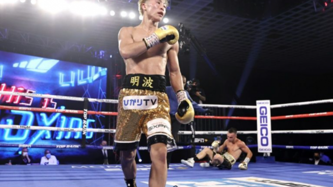 Naoya Inoue walks around the corner after knocking down Australian challenger Jason Moloney in their bantamweight title fight at the MGM Hotel and Casino in Las Vegas